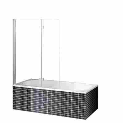 Badewannenaufsatz 'Beta' silber, Klarglas, Sondermaß