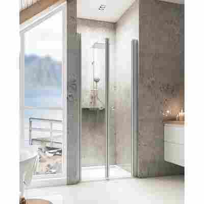 Pendeltür für Nische 'Garant' teilgerahmt, aluminiumfarben, 75 x 200 cm
