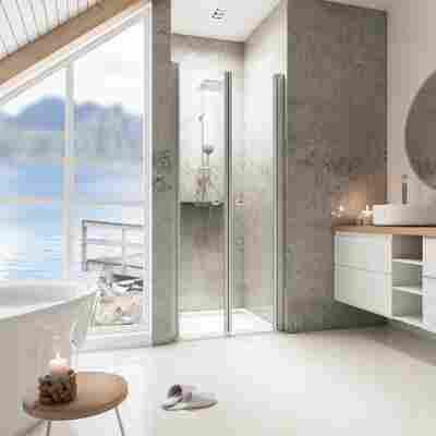 Pendeltür für Nische 'Garant' teilgerahmt, aluminiumfarben, 80 x 200 cm