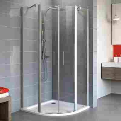 Runddusche mit Drehtür 'Alexa Style 2.0' teilgerahmt, aluminiumfarben, 55 x 192 x 80 cm