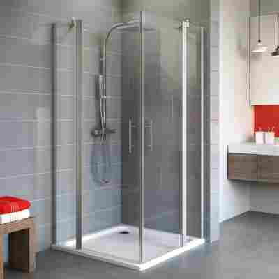 Eckdusche mit Drehtür 'Alexa Style 2.0' teilgerahmt, aluminiumfarben, 75 x 192 x 90 cm