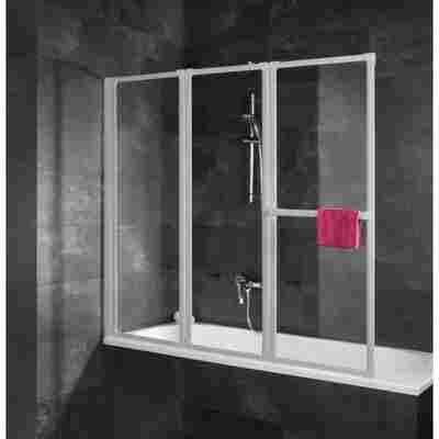 Badewannenfaltwand 'Komfort' vollgerahmt, aluminiumfarben, 127 x 140 cm, 3-teilig