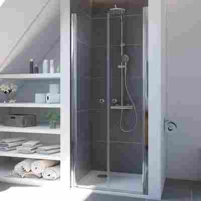 Pendeltür 'Elana 6' für Nische, 90 cm, silber, Klarglas inklusive Beschichtung