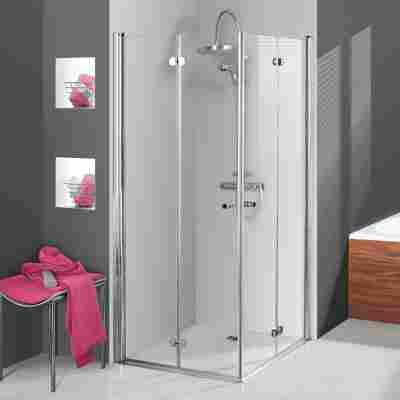 Eckeinstieg 'Elana Komfort' Drehfalt 90 x 90 cm, silber, Klarglas inklusive Beschichtung