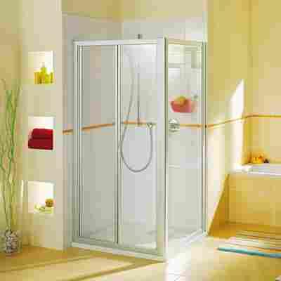 Seitenwand 'Fara 4' 90 cm, silber, Klarglas inklusive Beschichtung