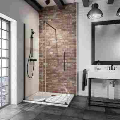 Walk In Dusche mit Schiebetür 'Alexa Style 2.0' teilgerahmt schwarz 120 x 200 cm