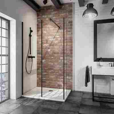 Walk In Dusche 'Alexa Style 2.0 Loft' teilgerahmt, schwarz, 120 x 200 x 30 cm, 2-teilig