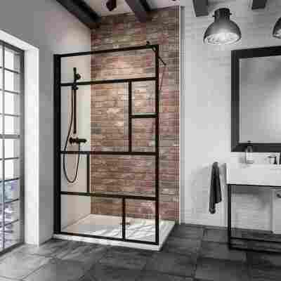 Walk In Dusche 'Alexa Style 2.0 Atelier 1' teilgerahmt, schwarz, 90 x 200 cm