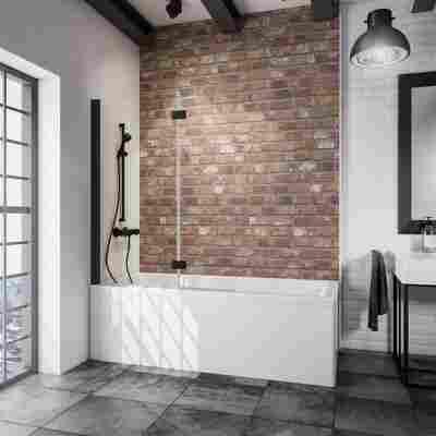 Badewannenfaltwand 'Komfort' schwarz, klar, 112 x 140 cm, 2-teilig