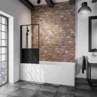 Badewannenfaltwand 'Komfort Atelier 5' schwarz, matt, 80 x 140 cm, 1-teilig