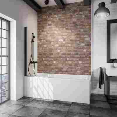 Badewannenfaltwand 'Komfort' schwarz, klar, 80 x 140 cm, 1-teilig