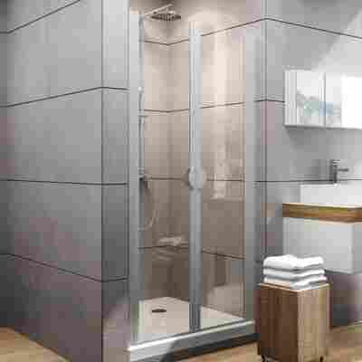 Pendeltür für Nische 'Sunny' teilgerahmt, aluminiumfarben, 80 x 180 cm