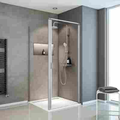 Eckdusche mit Drehtür 'Sunny' teilgerahmt, aluminiumfarben, 90 x 180 x 90 cm