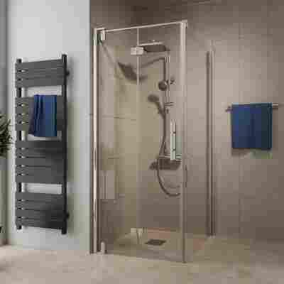 Drehfalttür 'Europa Design' für Seitenwand, links, teilgerahmt, Chromoptik, 80 x 200 cm