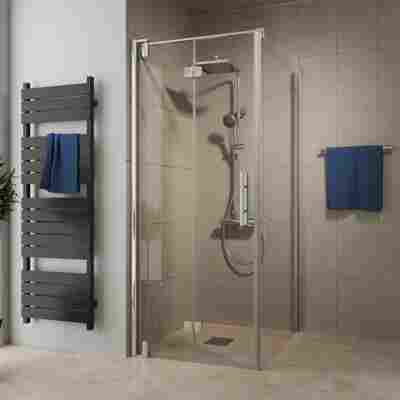 Drehfalttür 'Europa Design' für Seitenwand, links, teilgerahmt, Chromoptik, 90 x 200 cm