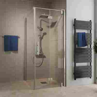 Drehfalttür 'Europa Design' für Seitenwand, rechts, teilgerahmt, Chromoptik, 80 x 200 cm