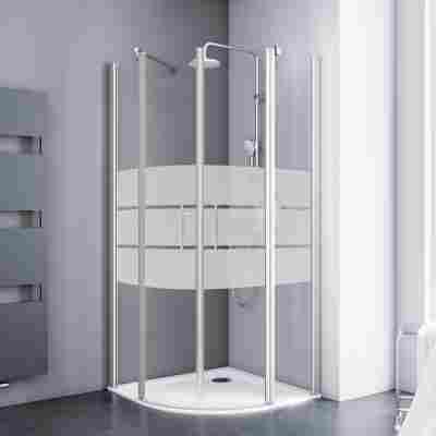 Runddusche mit Drehtür 'Alexa Style 2.0' teilgerahmt, gestreift, aluminiumfarben, 90 x 90 x 192 cm