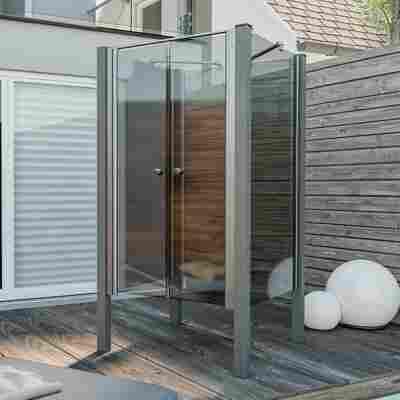 Pendeltür für Gartendusche 'Exo' grau getöntes Glas, aluminiumfarben, 100 x 160 cm