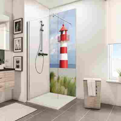 Duschrückwand 'DecoDesign' Leuchtturm 210 x 90 cm