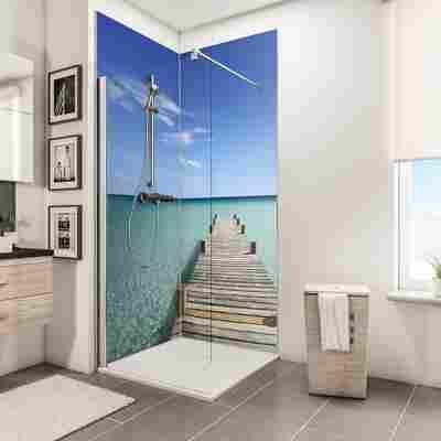 Duschrückwand 'DecoDesign' Steg Malediven 210 x 90 x 90 cm, über Eck