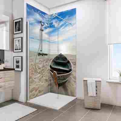 Duschrückwand 'DecoDesign' Ruderboot am Strand 210 x 90 x 90 cm, über Eck