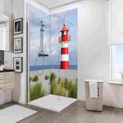 Duschrückwand 'DecoDesign' Leuchtturm 210 x 90 x 90 cm, über Eck