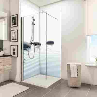 Duschrückwand 'DecoDesign' Zen-Steine Wasser 210 x 90 x 90 cm, über Eck