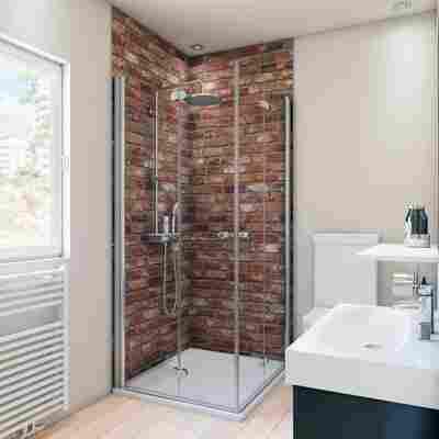 Duschrückwand Maueroptik rot 100 x 210 cm