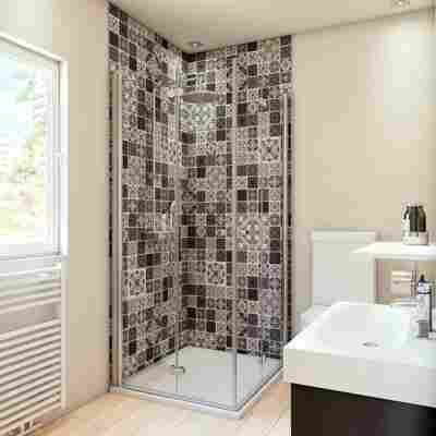 Duschrückwand Fliesenoptik Marokko-Design grau/weiß 100 x 255 cm