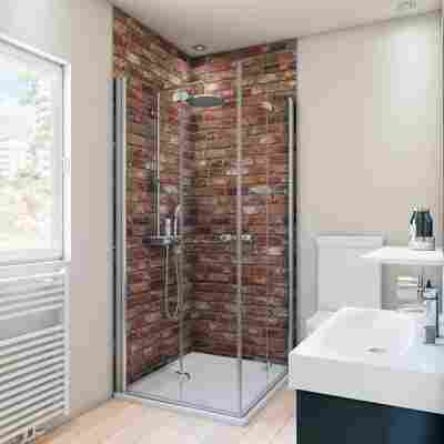 Duschrückwand Maueroptik rot 100 x 255 cm