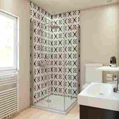 Duschrückwand Fliesenoptik Orient-Design schwarz/weiß 150 x 255 cm