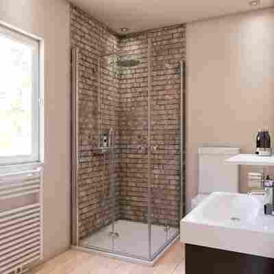 Duschrückwand Maueroptik grau/beige 150 x 255 cm