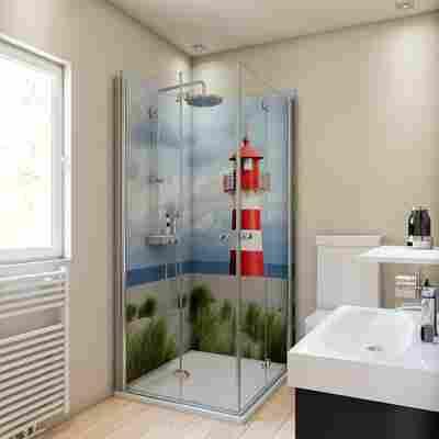 Duschrückwand Motiv Leuchtturm 90 x 90 x 210 cm