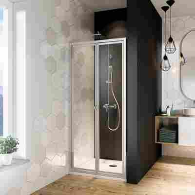 Falttür 'Fara4' für Nische oder Seitenwand, Klarglas, vollgerahmt, aluminiumfarben, 80 x 185 cm