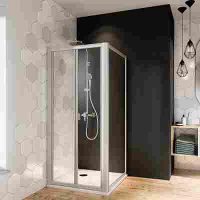 Falttür 'Fara4' für Nische oder Seitenwand, Klarglas, vollgerahmt, aluminiumfarben, 90 x 185 cm