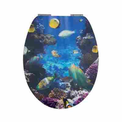 WC-Sitz 'Ozean' mit 3D-Effekt und Absenkautomatik, blau