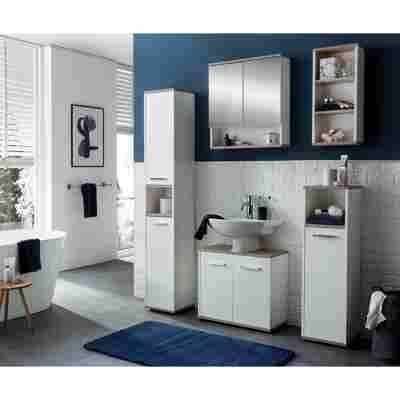 Waschbeckenunterschrank, weiß/eichefarben, 60 x 55 x 28,3 cm