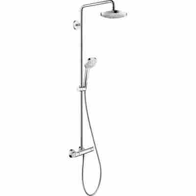 Duschsystem 'Croma Select E' weiß-chromfarben zwei Strahlarten
