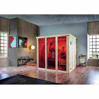 Design-Sauna 'Kemi Panorama 3' 209 x 210 cm inklusive Ofen 'Bios', Glastür, Fenster