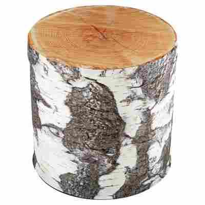 "Sitzhocker ""Birke"" Polyester grau/weiß/braun Ø 38 x 39 cm"