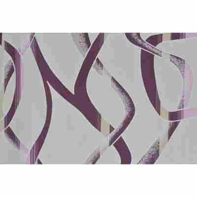 """Dekostoff """"Party"""" Muster grau/violett 140 cm Meterware"""