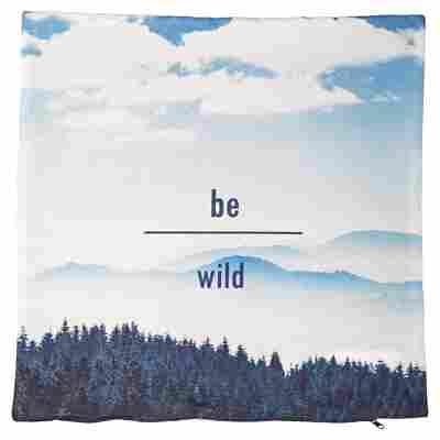 """Kissenhülle """"Wildlife"""" blau-weiß 50 x 50 cm"""