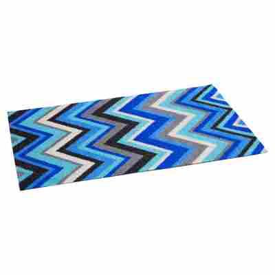 Fußmatte Polyamid ZigZag blau 58 x 39 cm