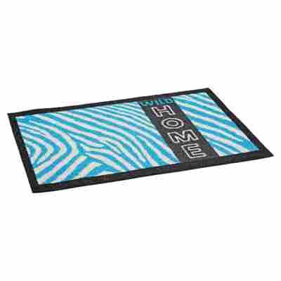 Fußmatte Polyamid Zebra türkis 58 x 39 cm