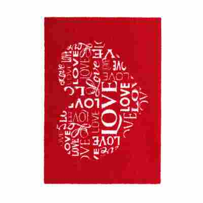 Sauberlaufmatte 'Felicido' 50 x 70 cm Herz rot