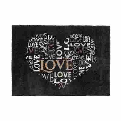 Sauberlaufmatte 'Felicido' 50 x 70 cm Herz schwarz