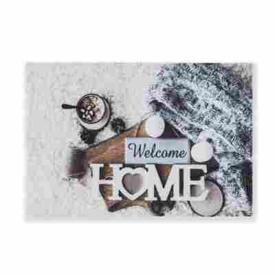 Sauberlaufmatte 'Deco Print' 40 x 60 cm Winter Welcome grau