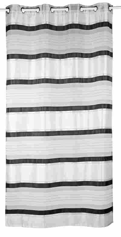 Ösenschal mit Querstreifen schwarz-silber