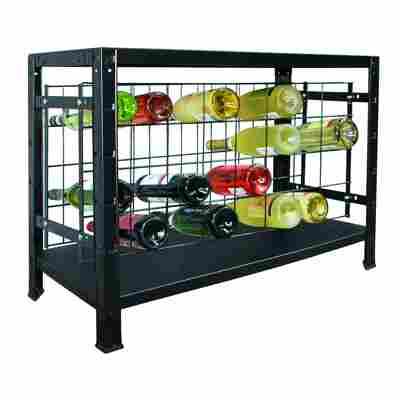 Weinregal schwarz 80 x 43 x 35 cm, für 32 Flaschen