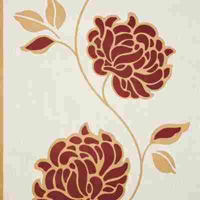 "Vliestapete ""Blume"" beige/rot"